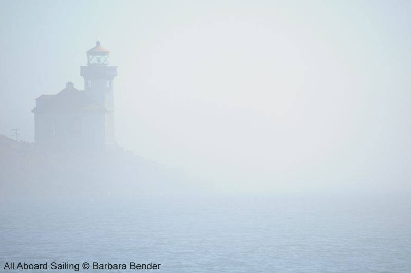 Lime Kiln Point Lighthouse in thick fog