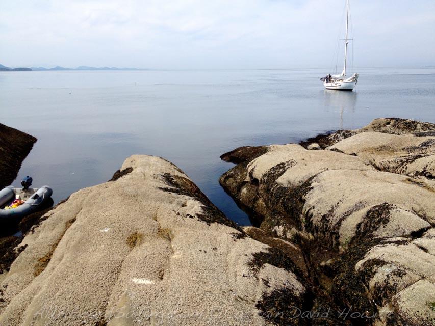 S/V Peniel at anchor, Alden Point — at Patos Island, San Jaun National Monument.