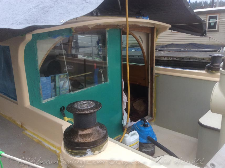 , Rebuilding Classic wooden sailboat, 1956 Sloop William Garden Design pilot house Sloop built by Prothero Brothers 1956, All Aboard Sailing