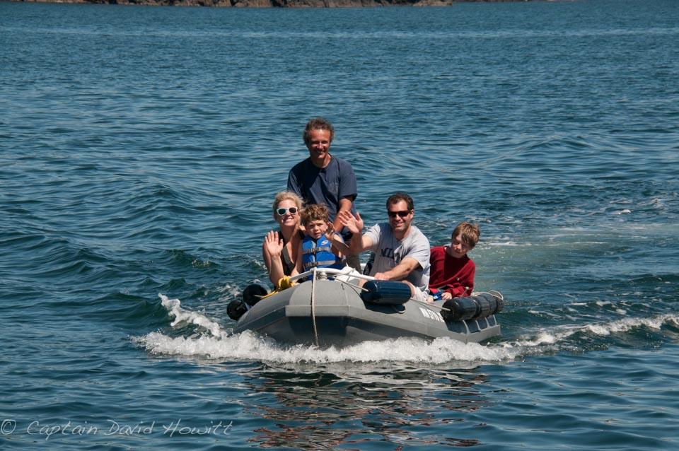 Bullfrog tender takes family ashore south Lopez Island beaches