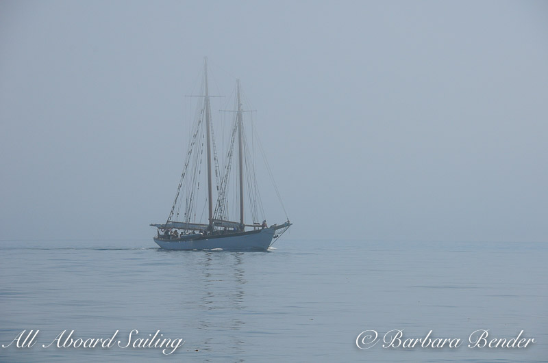 Schooner appears out of fog San Juan Island
