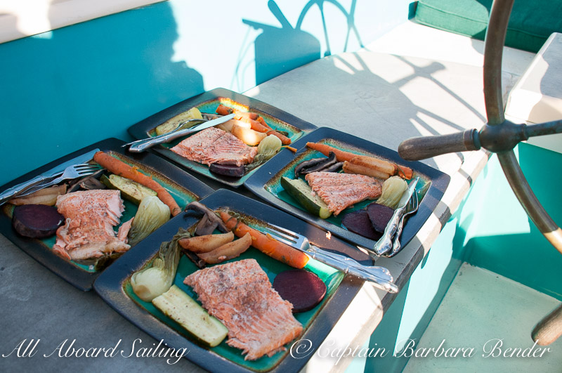 Whale watching sailing BBQ salmon supper