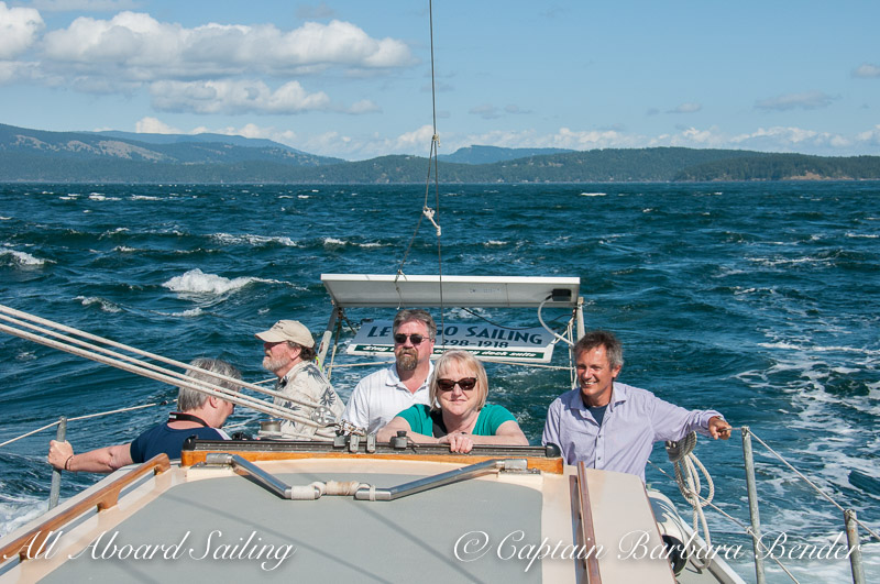 Sailing in Spieden Channel — with Bruce Martin, Lisa Anderson, David Howitt and Sheila Martin