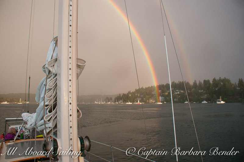 Rainbow with sunset sail