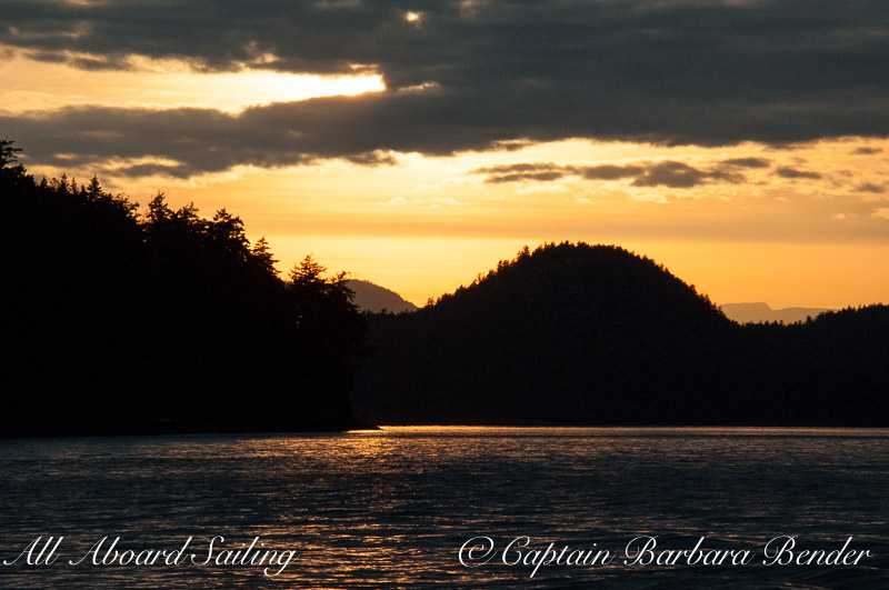 Sunset sail home, New Channel with Tip Top mountain Stuart Island