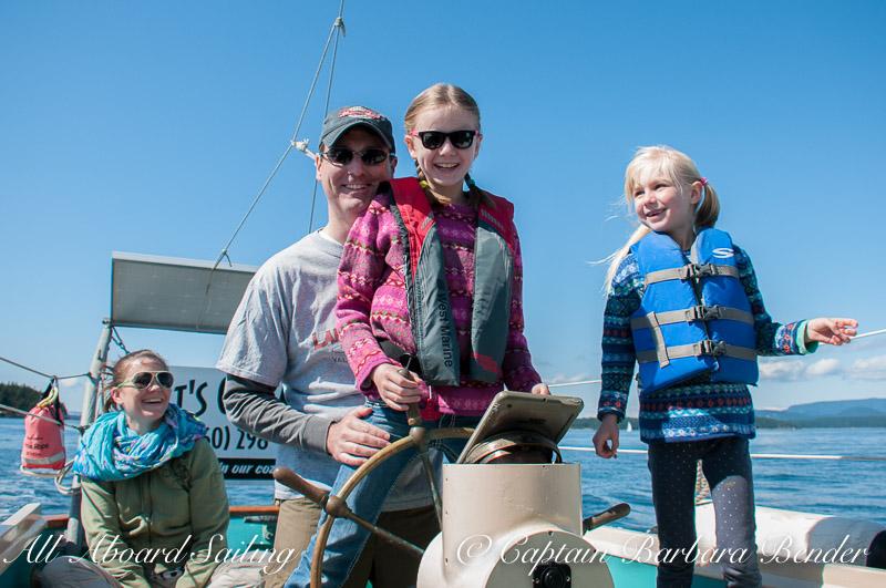 Family sailing San Juan Islands