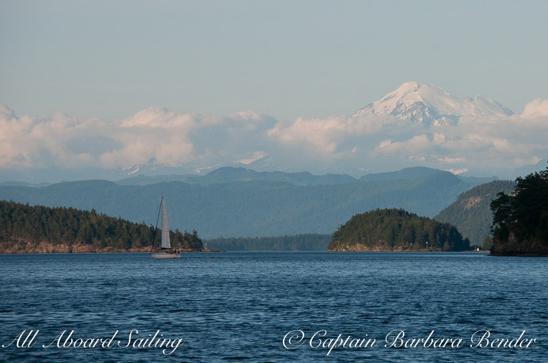Sailing down Wasp Pass to Mount Baker