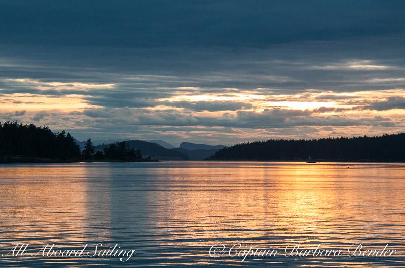 Sunset sailing Orcas Island