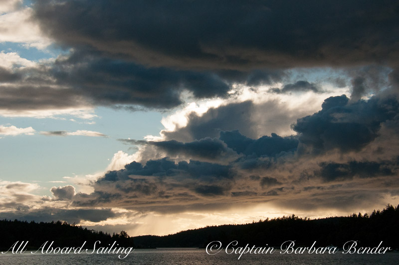 Dramatic sunset over Orcas Island