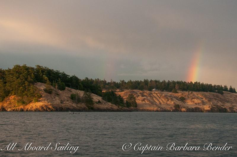T73As on Sentinel shoreline under double rainbow