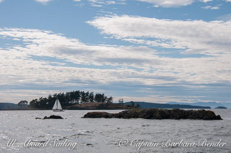 Sailing passed Yellow Island