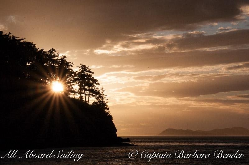 Sunset behind Flattop Island
