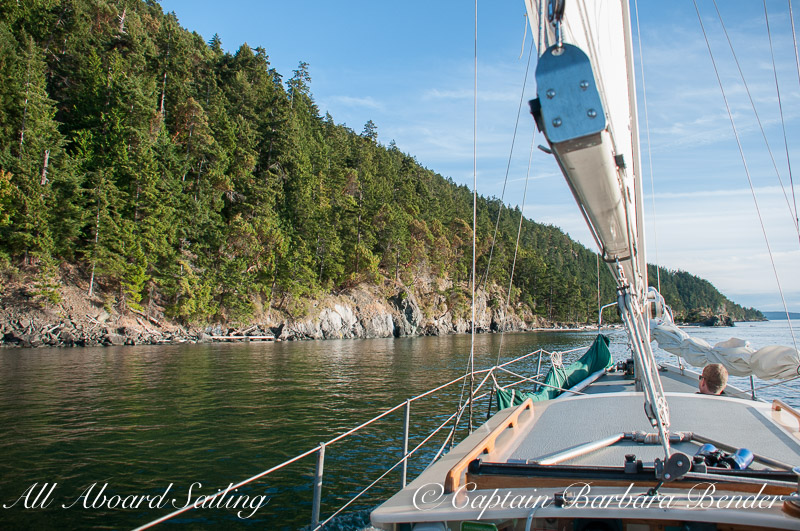 Sailing down Presidents Channel, Orcas Island