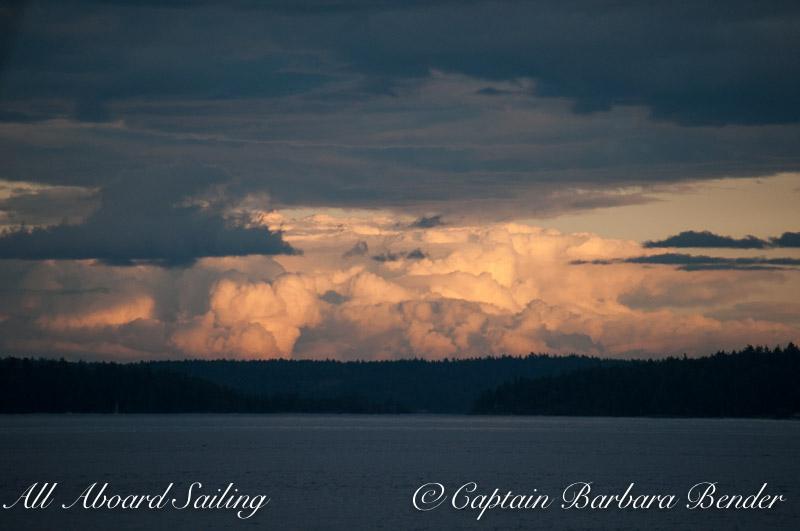 Cumulous clouds build over Lopez