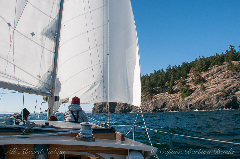 Sailing towards Kellett Bluff Wing on wing