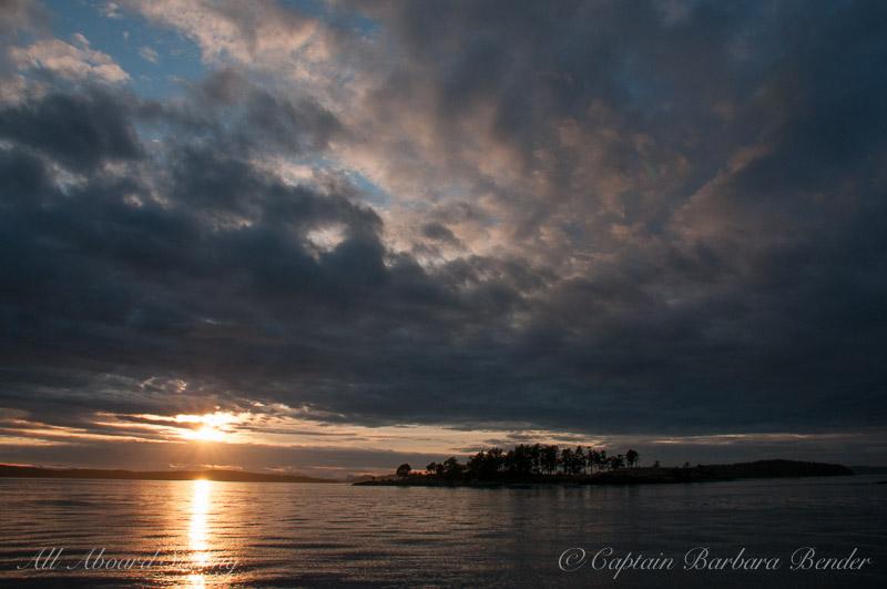 Sunset sail over Yellow Island, San Juan Island