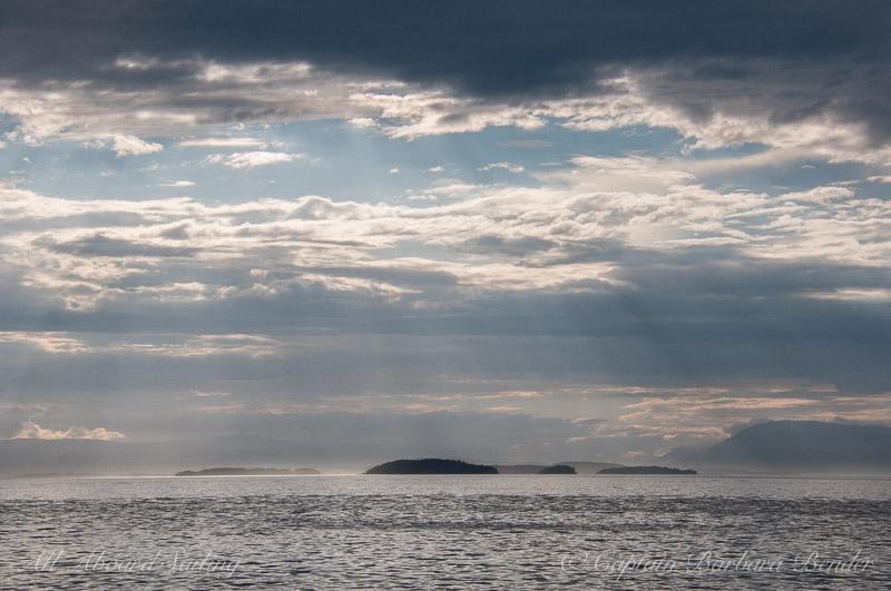 Sunset begins in Haro Strait