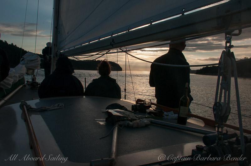 Sunset sail home to San Juan Island