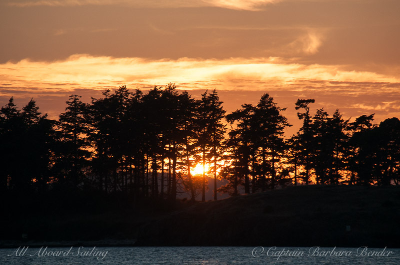 Sunset sail passing Yellow Island