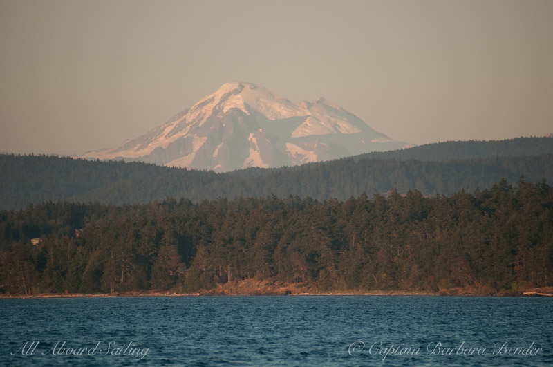 Mt Baker in the glowing sunset