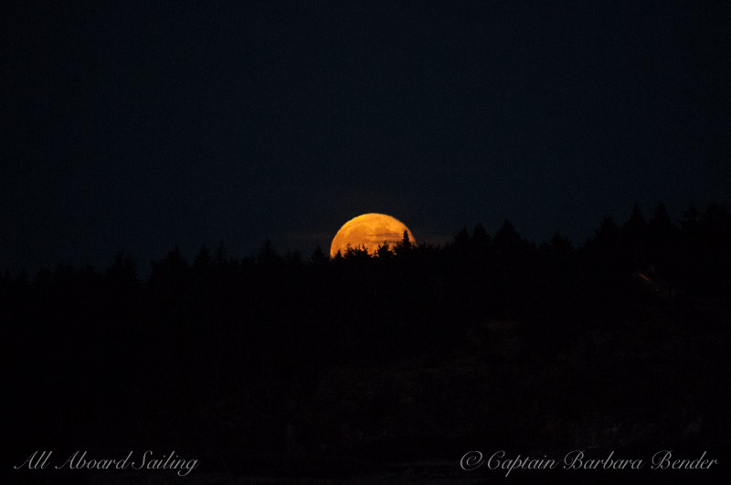 Here comes the full moon rising over Lopez Island
