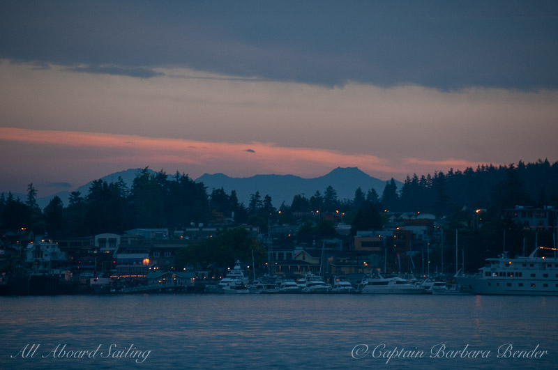 Sailing into Friday Harbor after sunset