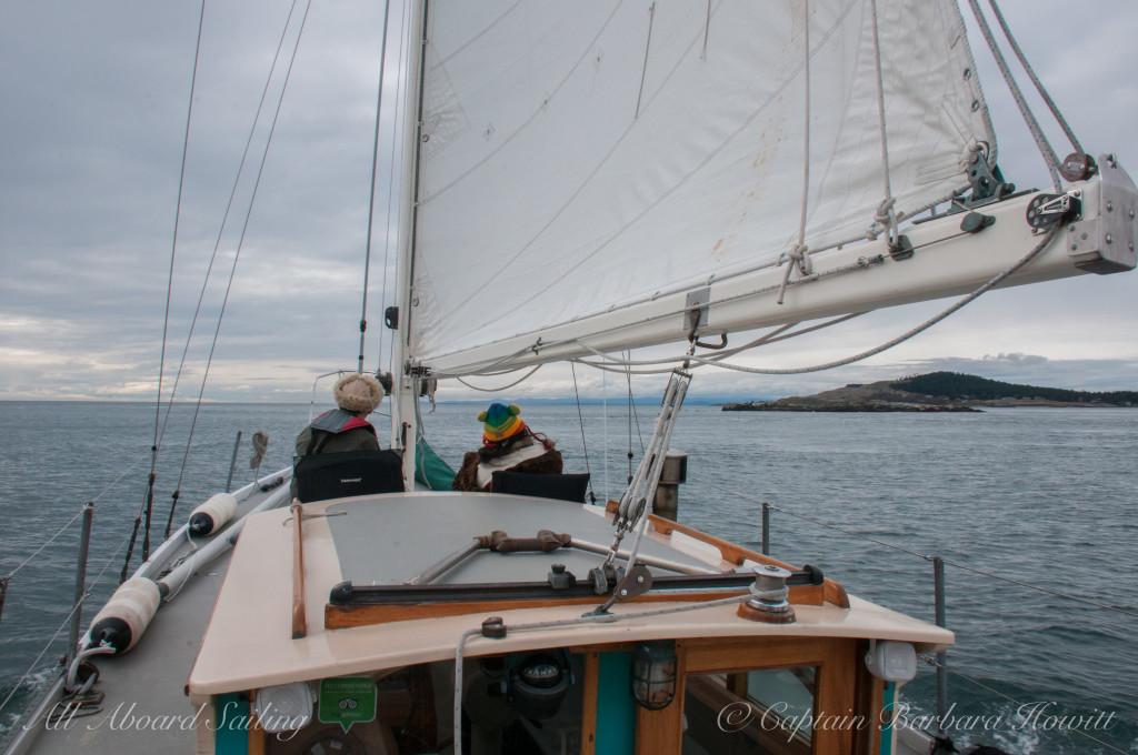 Sailing towards Whale Rocks