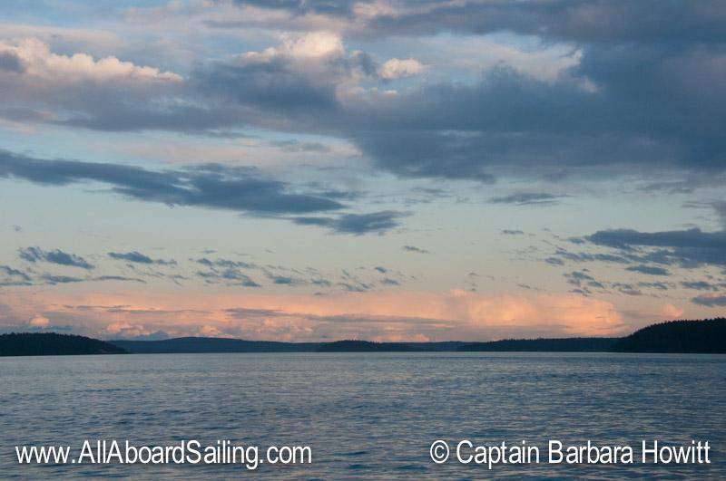 Sunset looking back toward Lopez