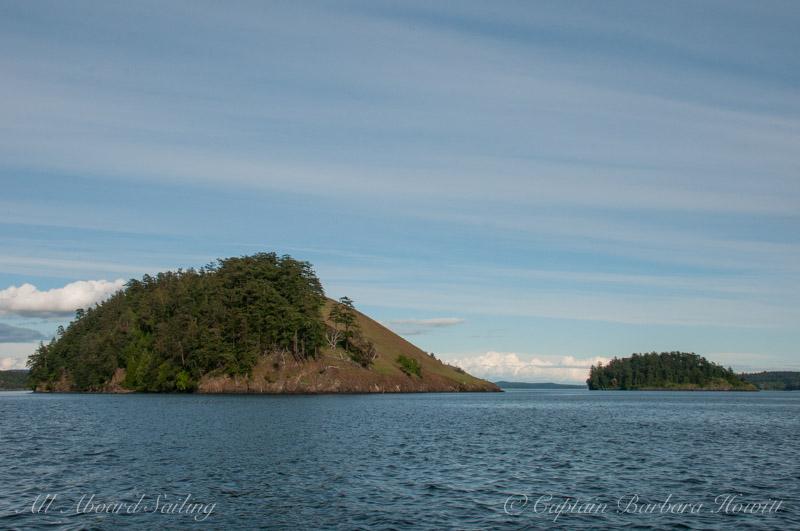 Two sides of Spieden Island