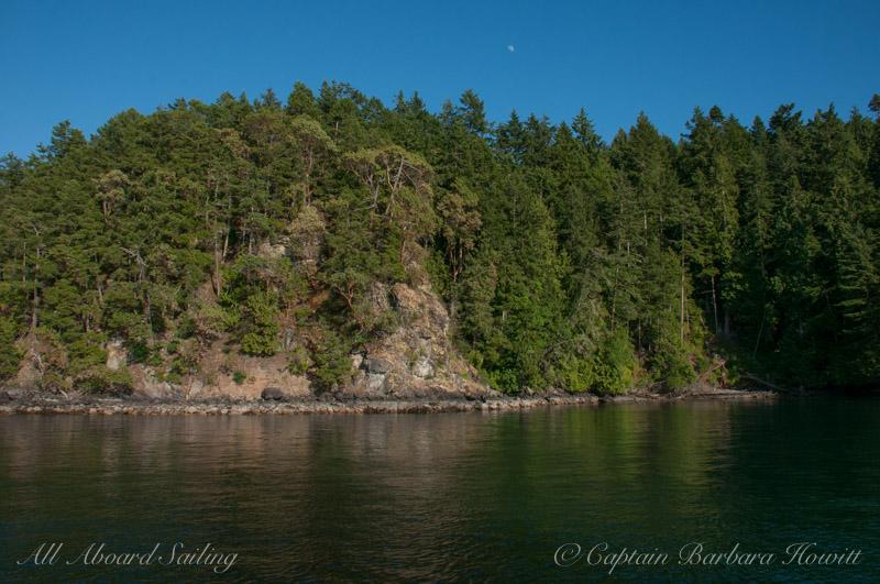 Half moon over Shaw Island