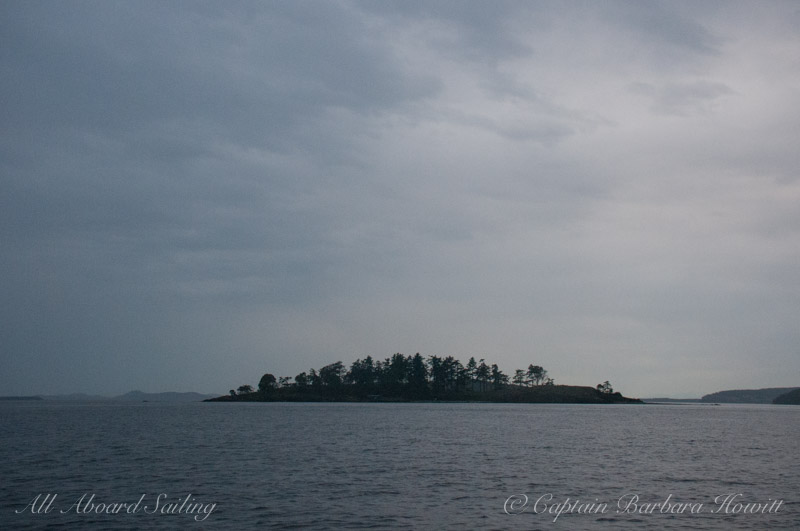 Beautiful Yellow Island on a gray night