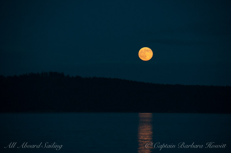 Full moon rising over Orcas Island