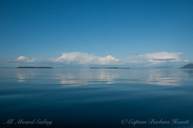 Calm water reflections in the San Juan Islands