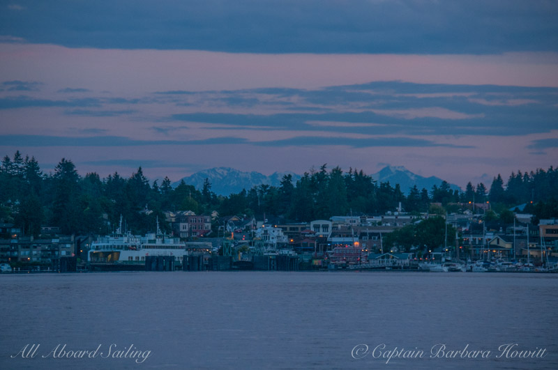 Friday Harbor at dusk with Olympic Mountains