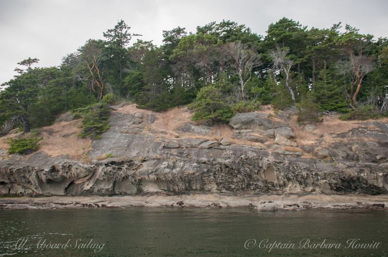 San Juan Islands Sailing charters Honeycomb sandstone of Patos Island