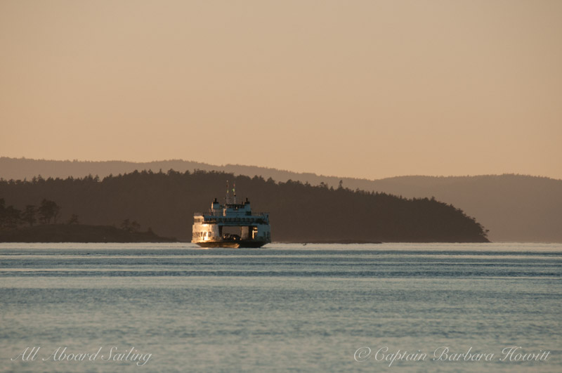 Ferry in sunset