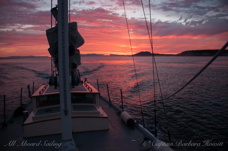 Sailing back to Friday Harbor at sunset