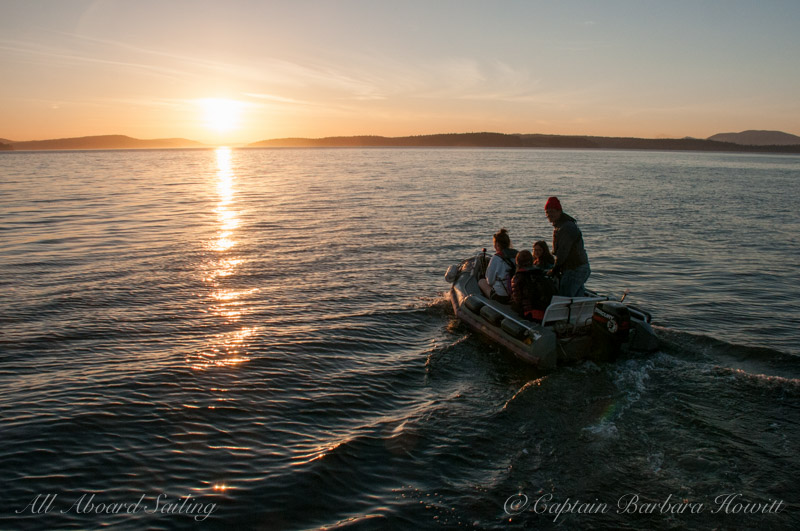 Sunset ride in the skiff to the beach to drop off our passengers