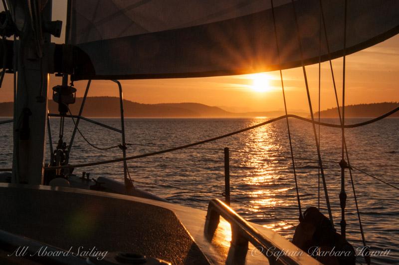 Sunset sail across San Juan Channel back to port