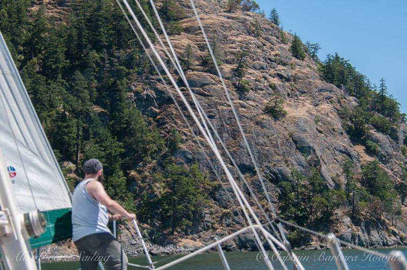Sailing towards Blakely Island