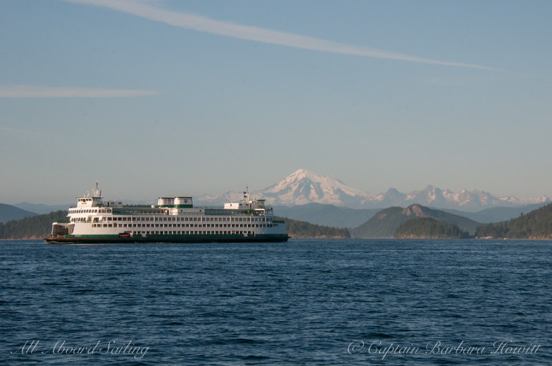 Washington State Ferry with Mt Baker