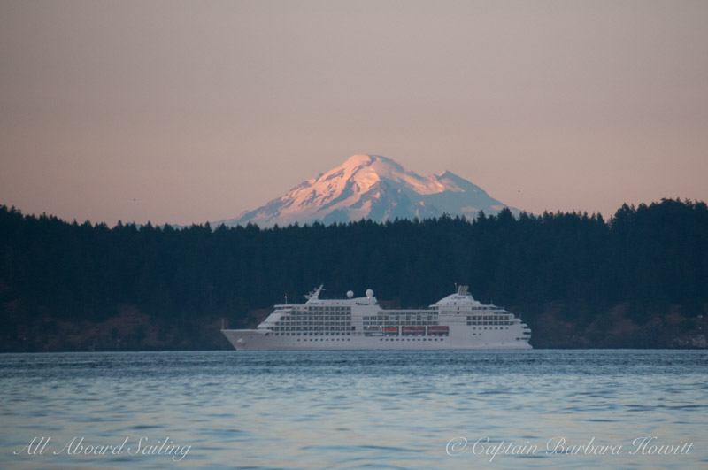 Cruise ship under Mt Baker