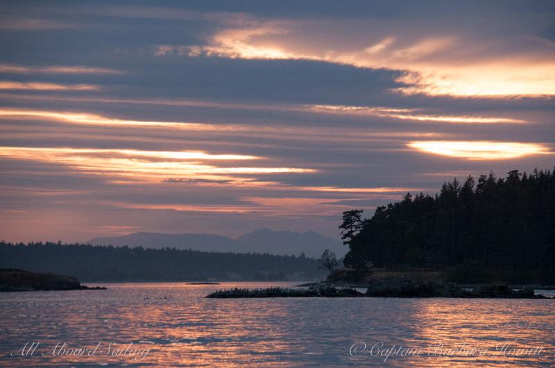 Beautiful sunset opposite moon rise