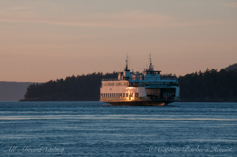 WA State Ferry headed to Friday Harbor at sunset
