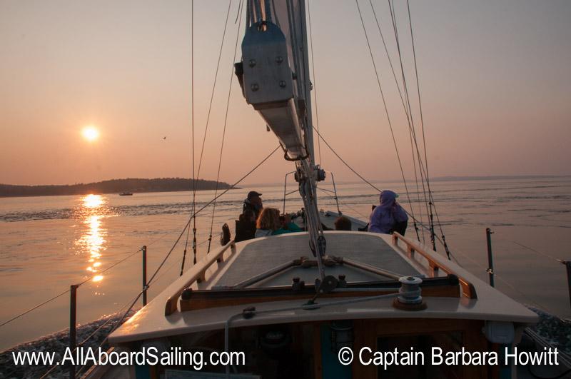 Sailing at sunset back to Friday Harbor