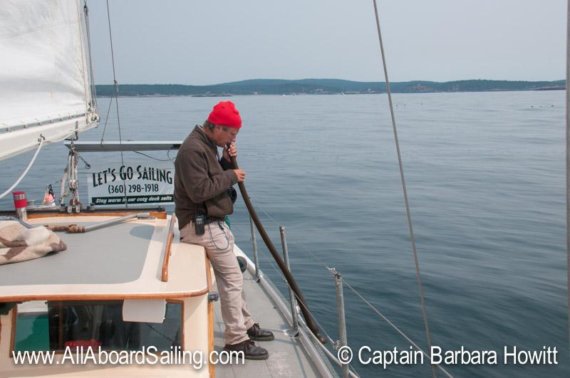 David blowing the kelp horn