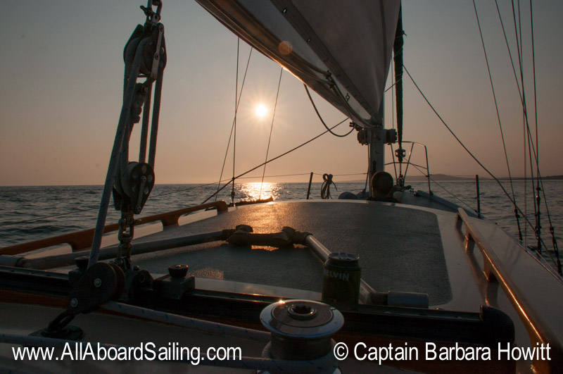 Sailing back towards Cattle Pass in the sunset