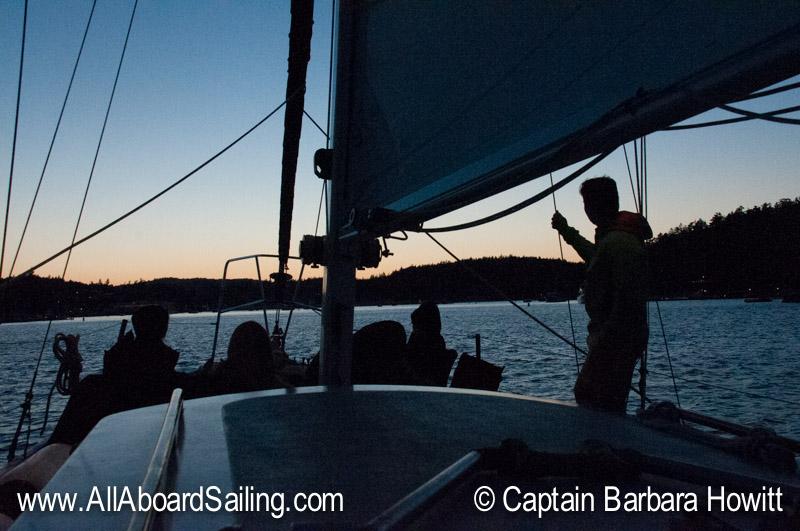 Sunset sail back to Friday Harbor