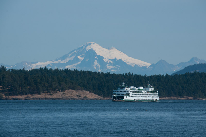 WA state ferry with Mount Baker