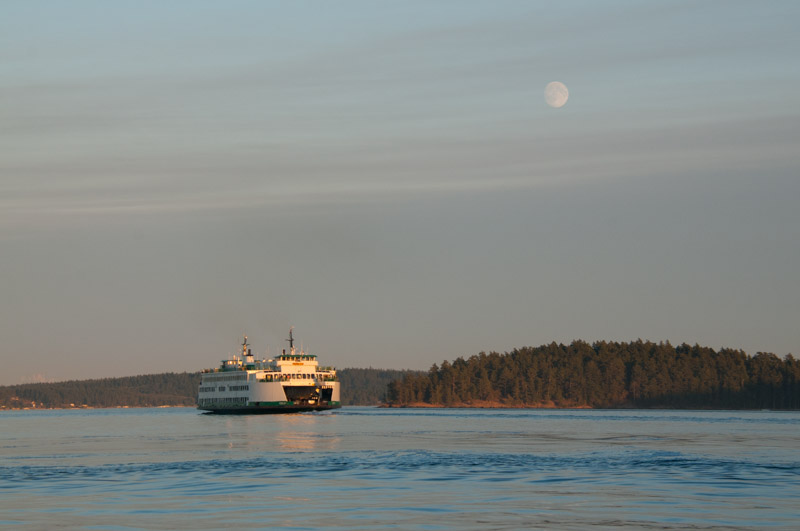 WA state ferry under full moon in San Juan Channel
